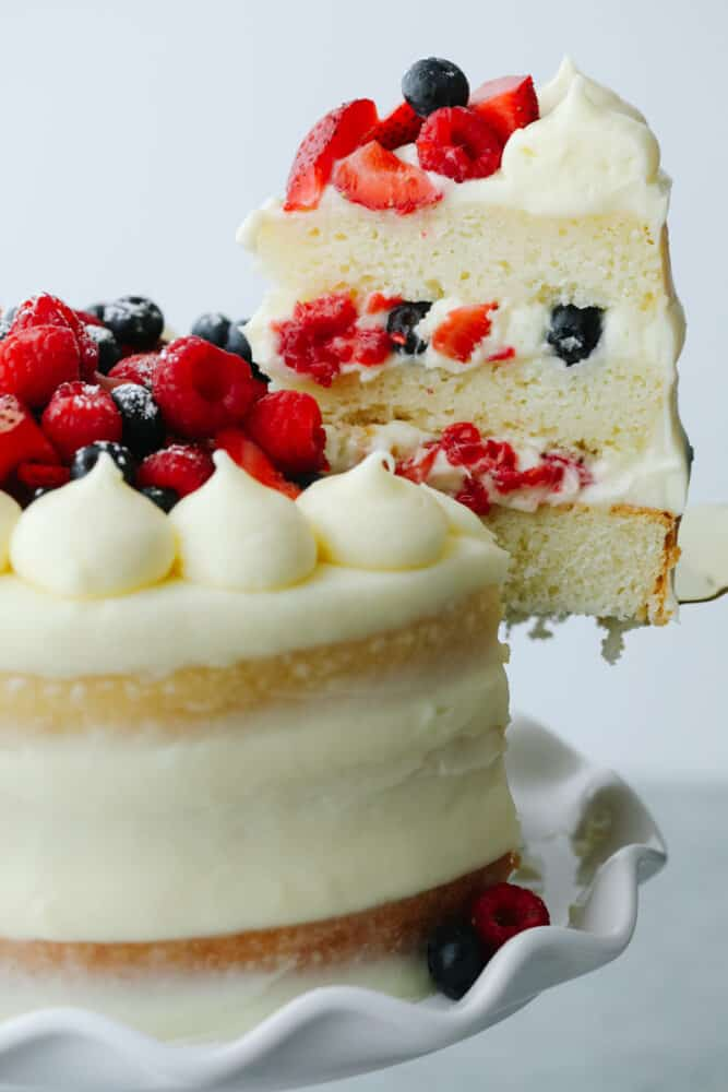 Slice of Chantilly Berry Cake.