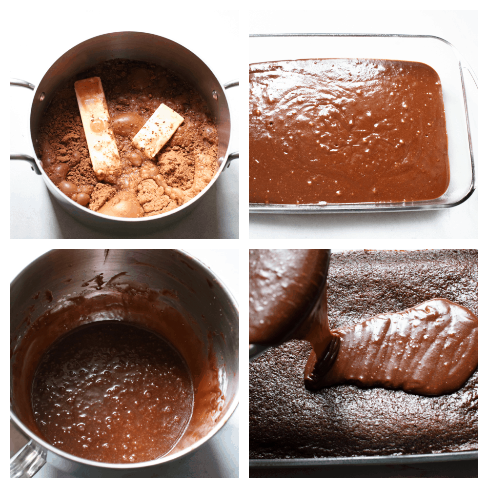 The process of making Coca Cola cake.