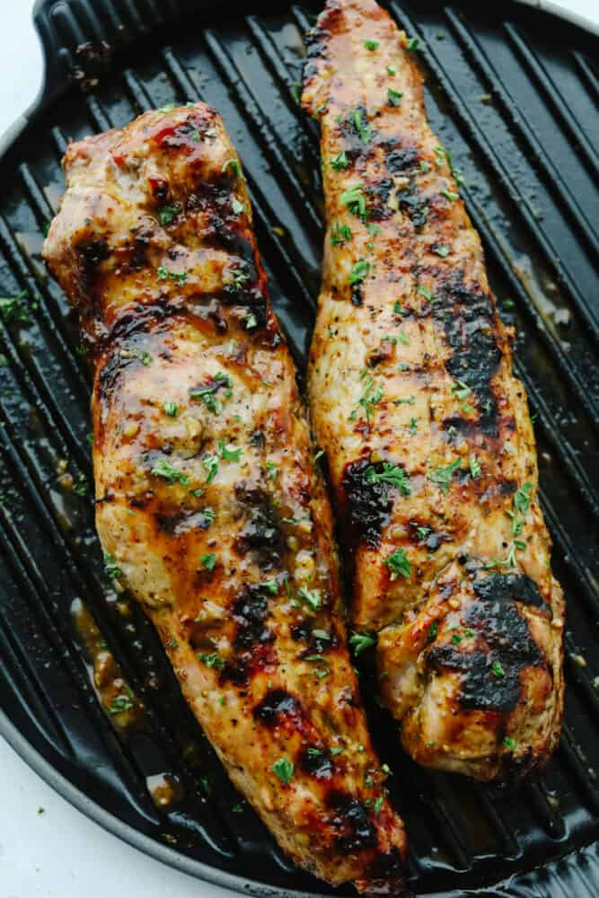 Honey Dijon Garlic Pork Tenderloin on grill.