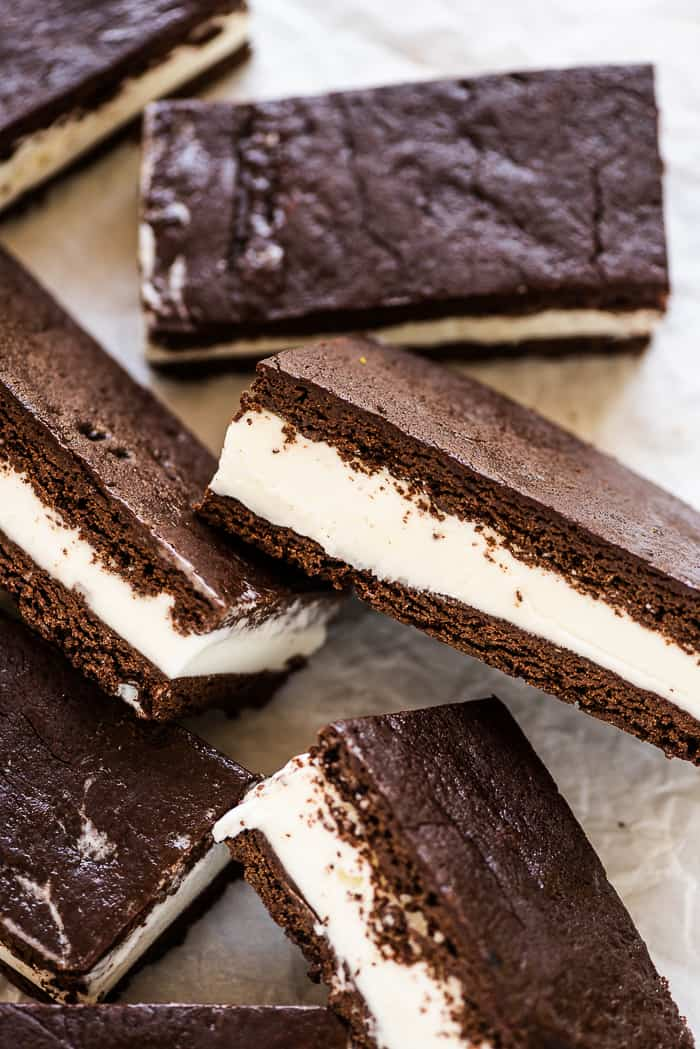 homemade ice cream sandwich bars on a serving plate.