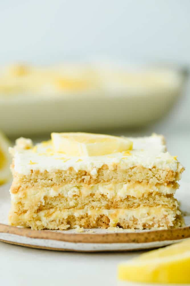 Slice of Lemon Ice Box Cake