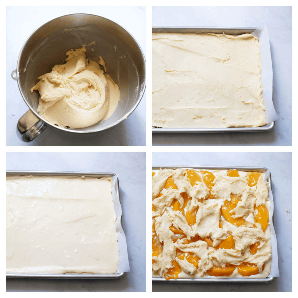 The process of making peach pie bars.