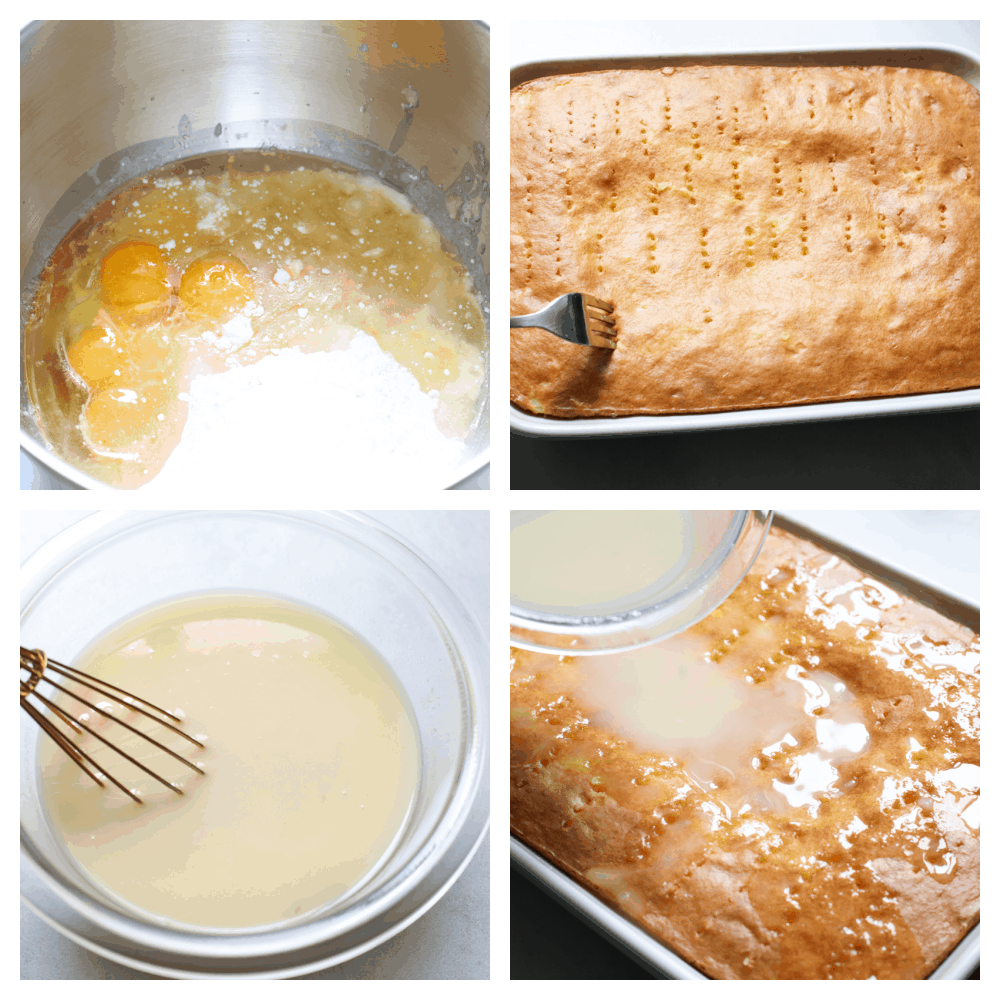 Mixing the ingredients, poking holes in the cake and pouring th sauce over the top.