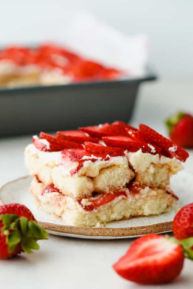 Slice of Strawberry Tiramisu.