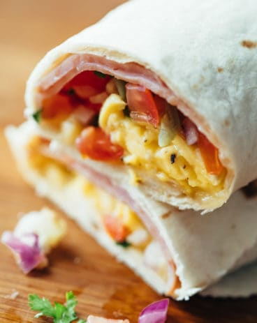 Breakfast burritos stacked on top of each other