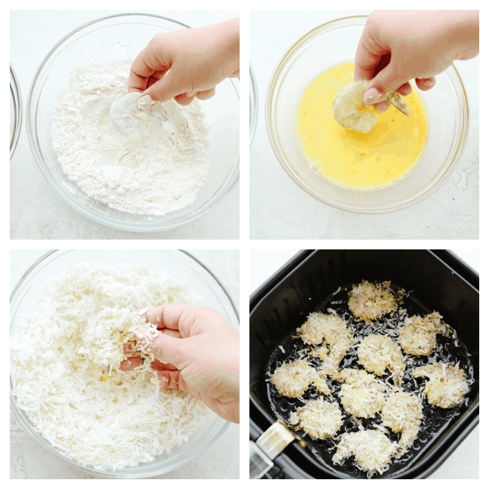 4 pictures of step by step instructions on how to add breaded coating to shrimp.