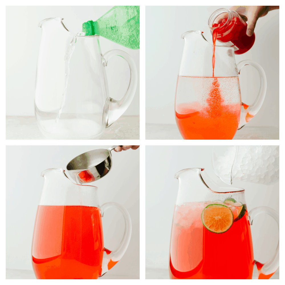 Process shots of adding ingredients to a pitcher.