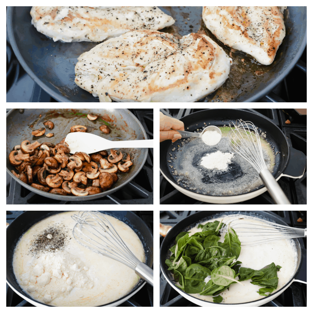 Sautéing the chicken, mushrooms, making the sauce and adding the spinach.