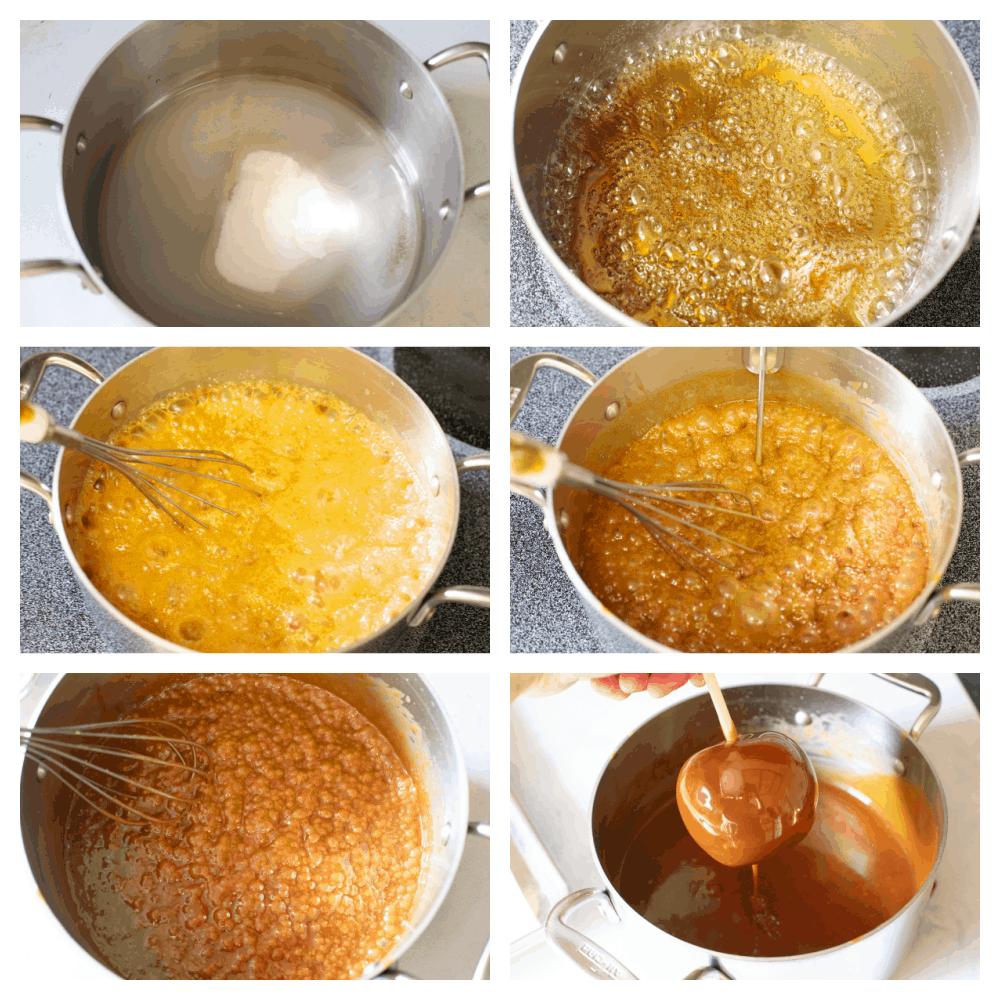 Process shots of making caramel sauce.
