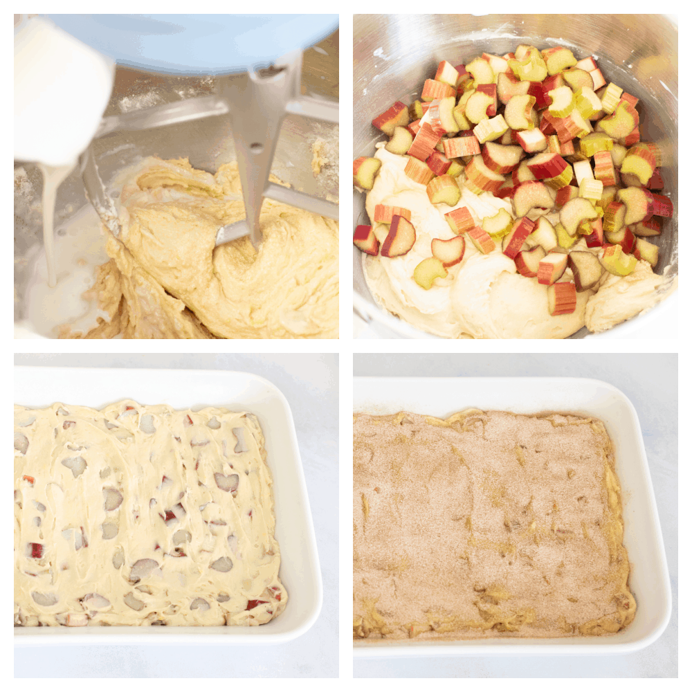 4 images showing stepson how to mix and make cinnamon sugar rhubarb cake.
