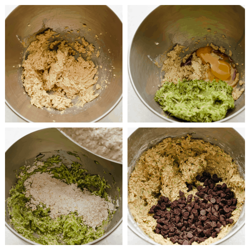 4 photos of the baking process of adding and mixing the ingredients together.