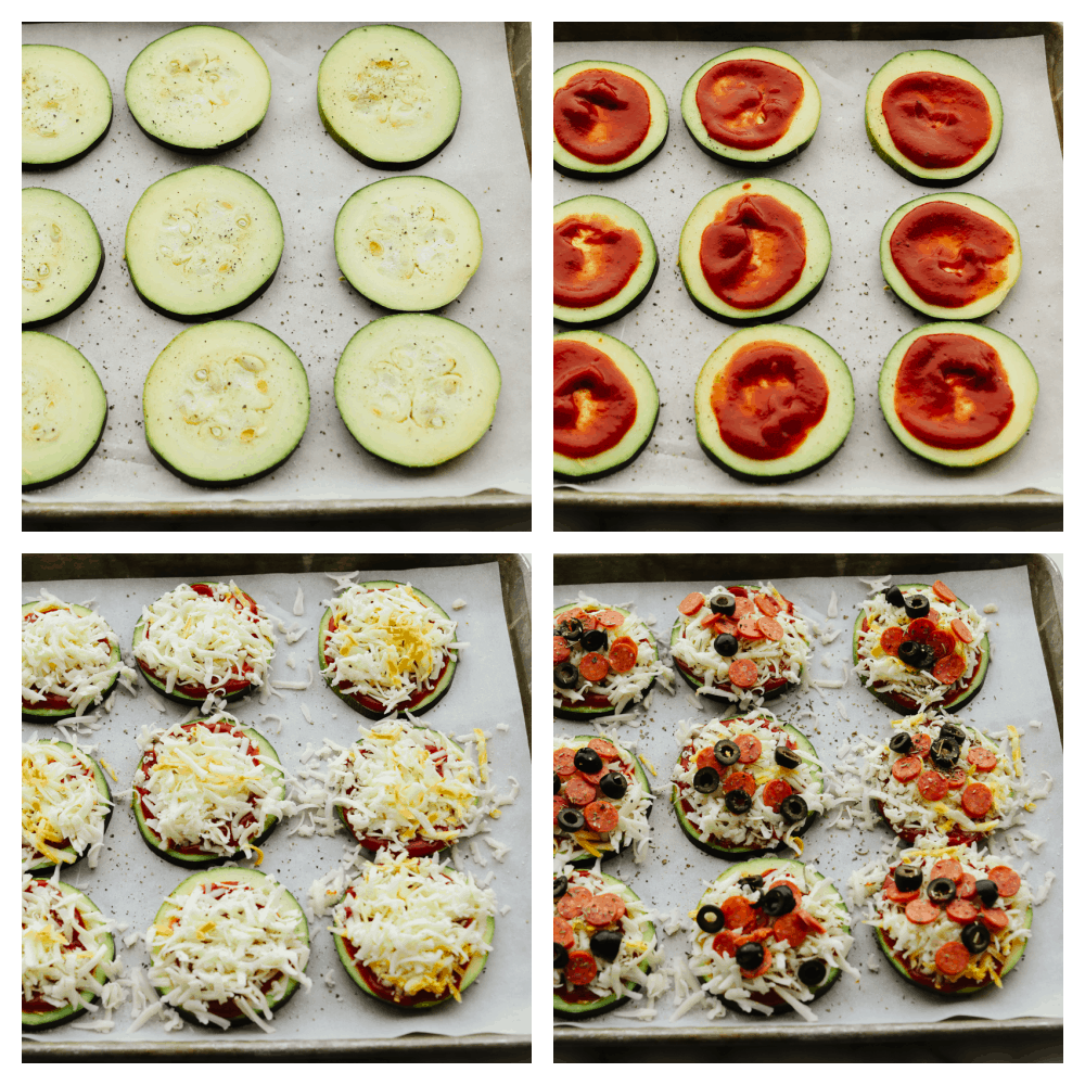 Adding sauce and pizza toppings to zucchini slices.