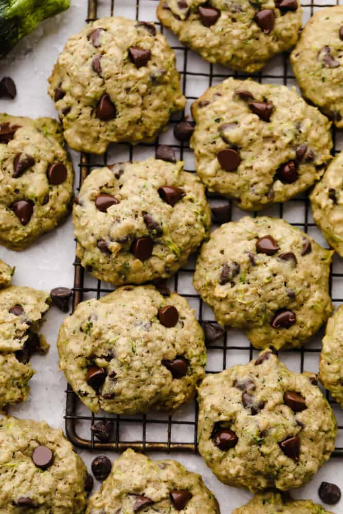 Finished zucchini oat chocolate chip cookies.