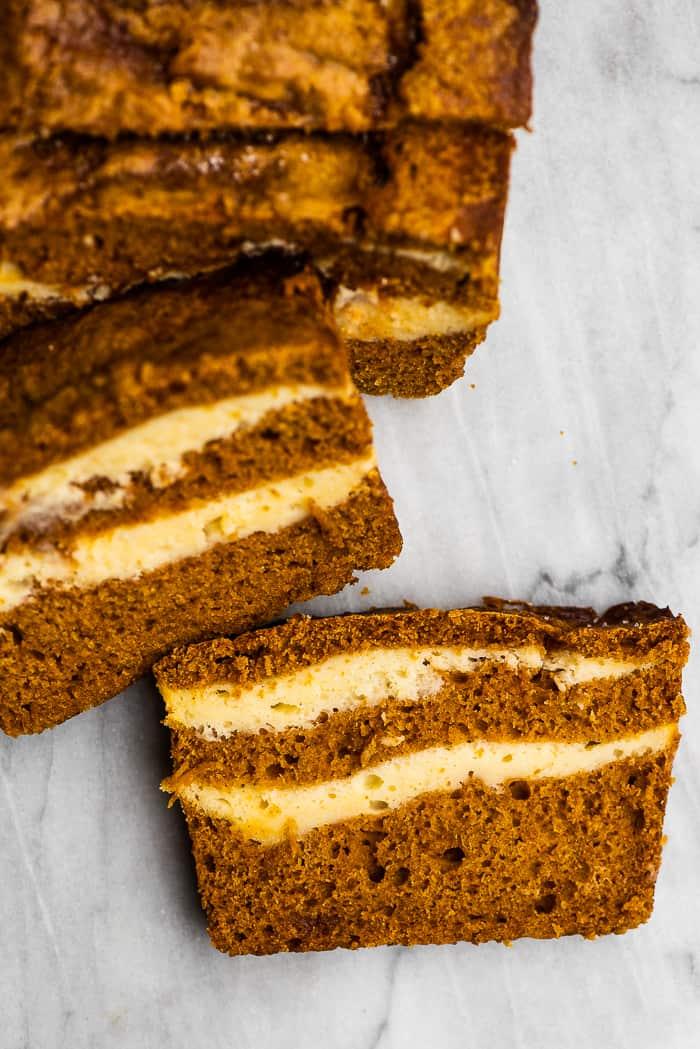 pumpkin cream cheese bread sliced.