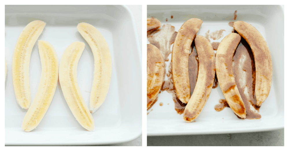 2 pictures showing how to slice and flavor bananas.