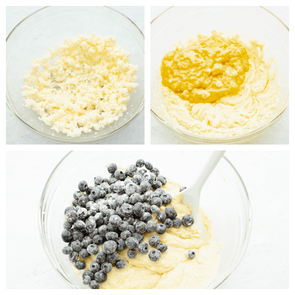 Process shots of making bread dough and tossing blueberries in flour.