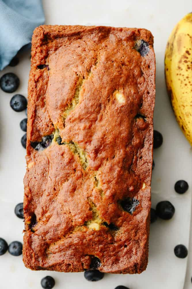 A loaf of blueberry banana bread.