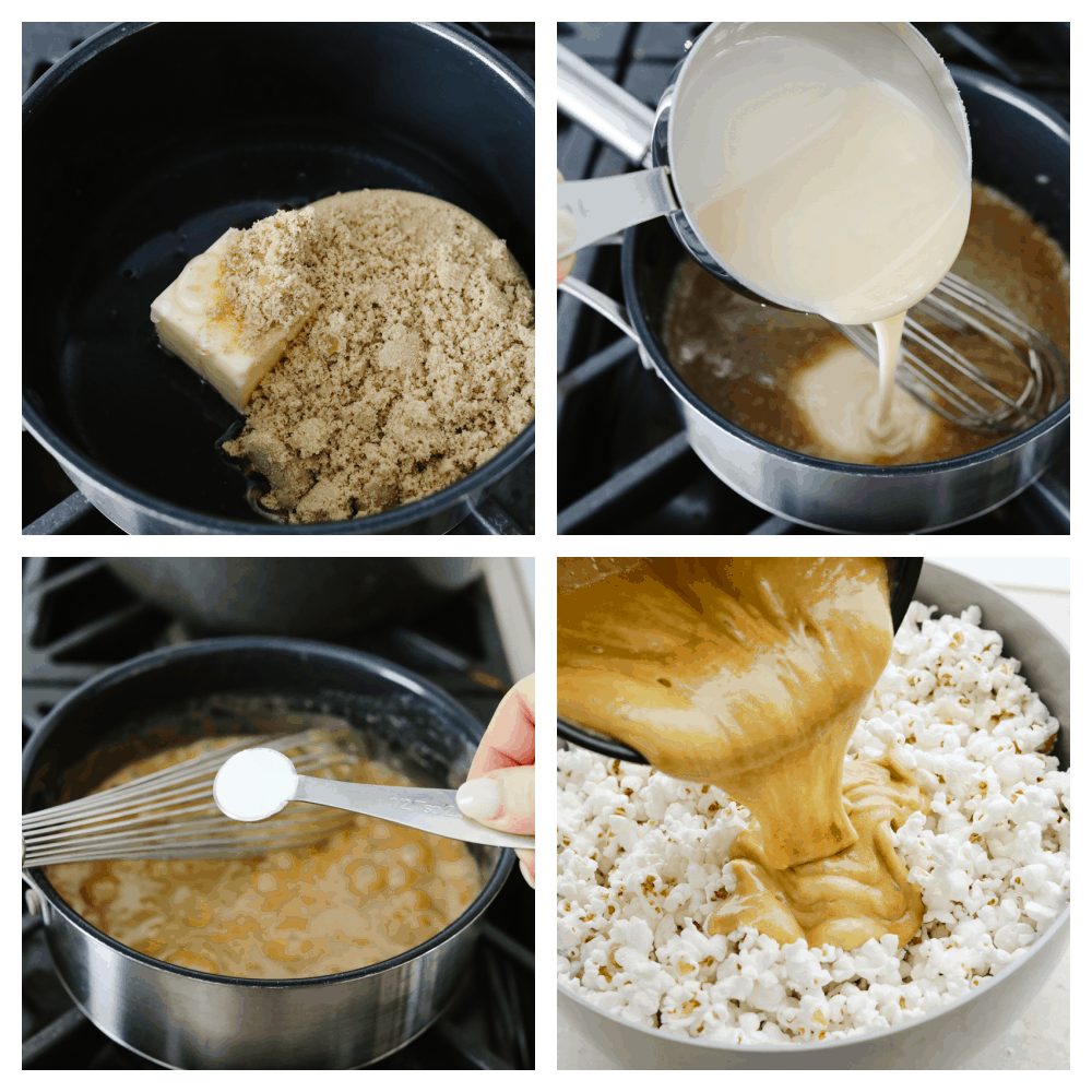 4 pictures showing how to cook caramel and add it to popcorn.