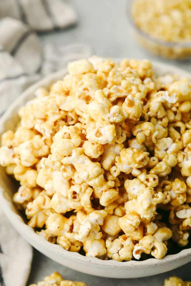 Caramel popcorn in a bowl.