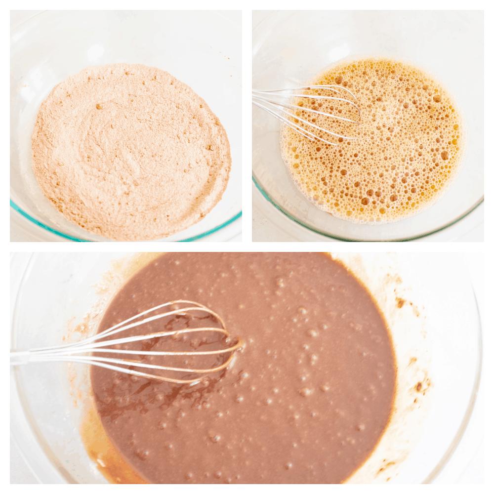 Process shots of preparing cupcake batter.
