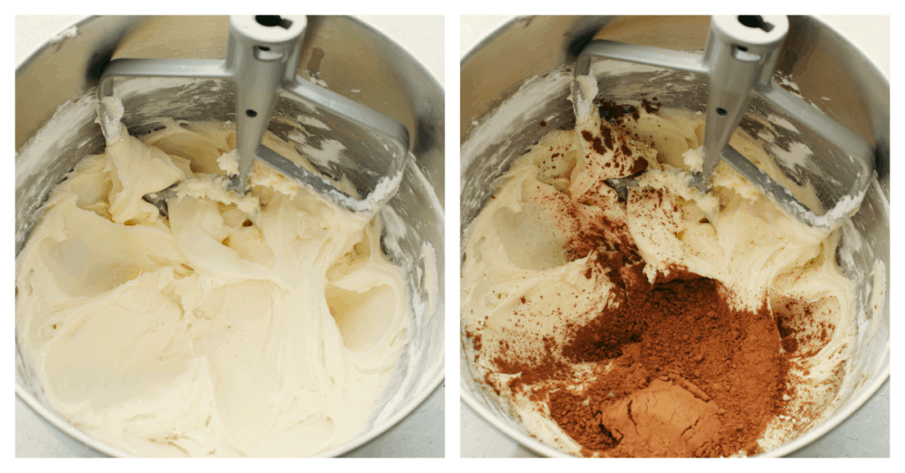 Process shots of mixing cocoa powder together with cream cheese.