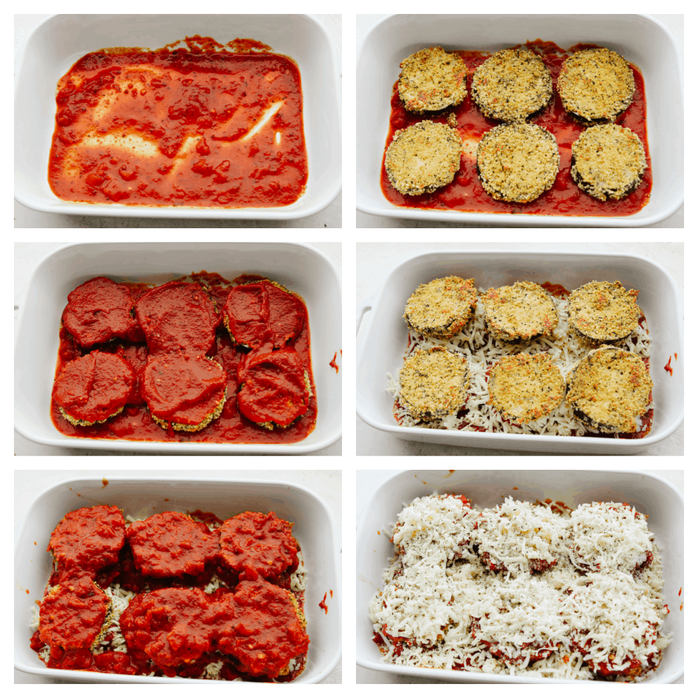 6 pictures showing how to layer eggplant with sauce and cheese.