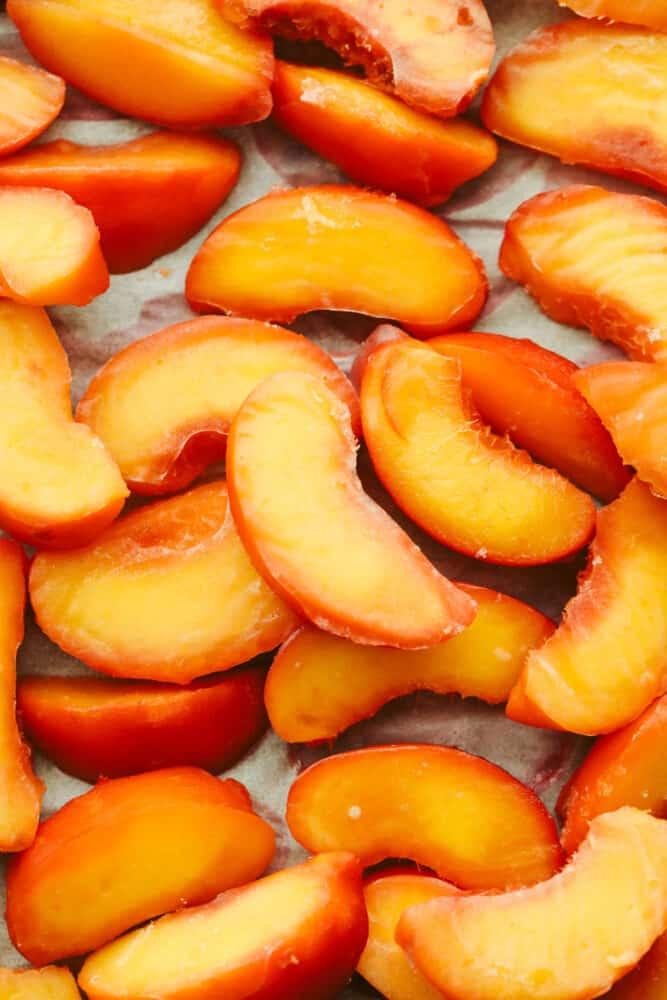 Frozen peaches ready to eat.