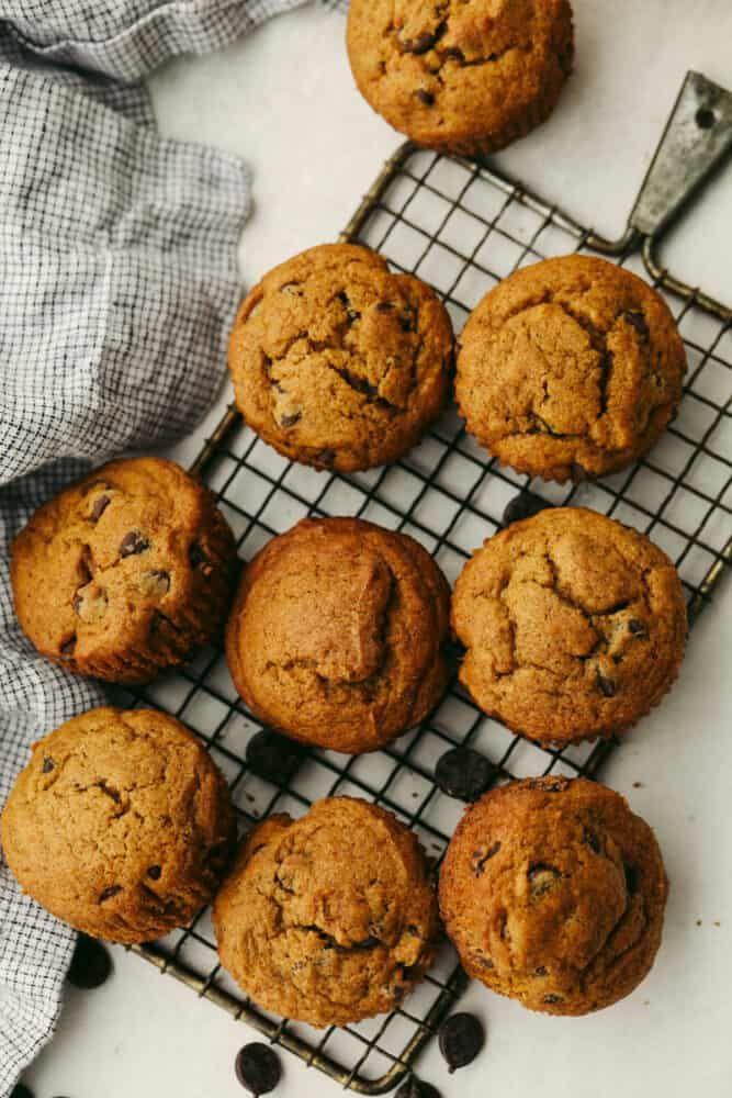 Muffins on a cooling rack.