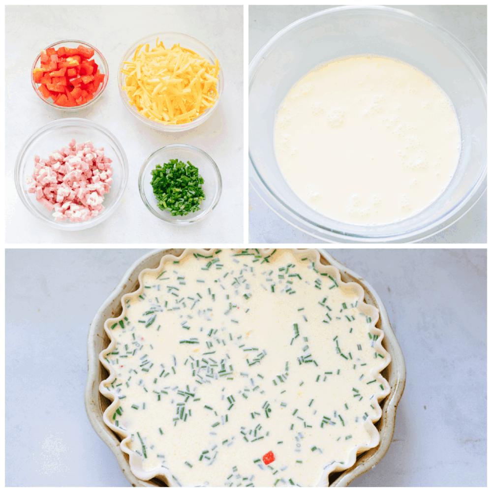 Process shots of preparing quiche and add-ins.