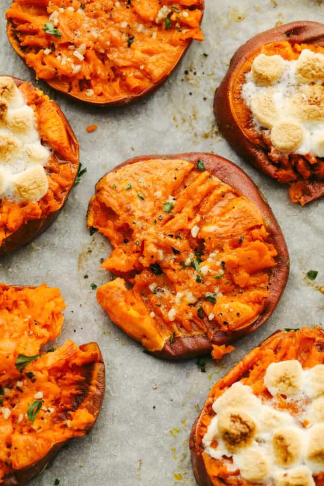 Sweet potatoes on a tray.