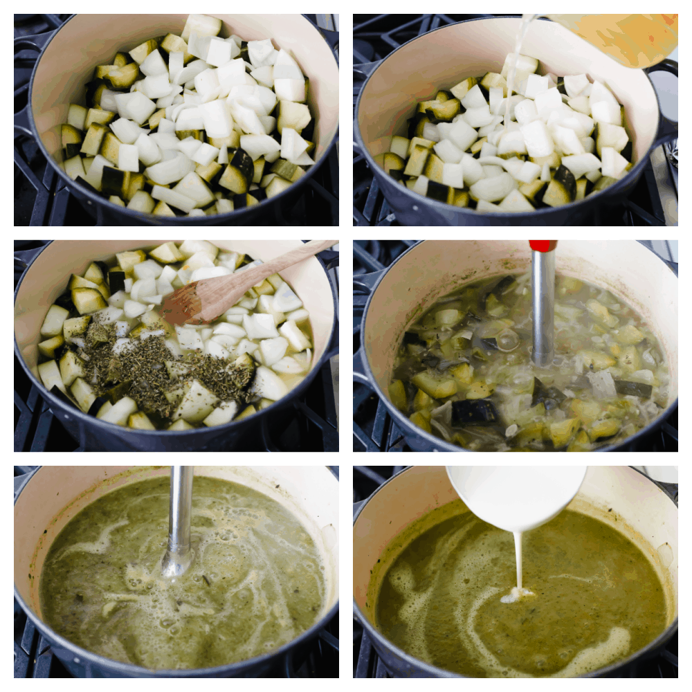Process shots of adding vegetables, broth, and spices to a large pot and blending.