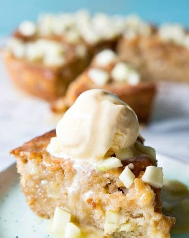 This light and fluffy apple skillet cake is topped with a homemade caramel apple glaze. Perfect for Fall baking!