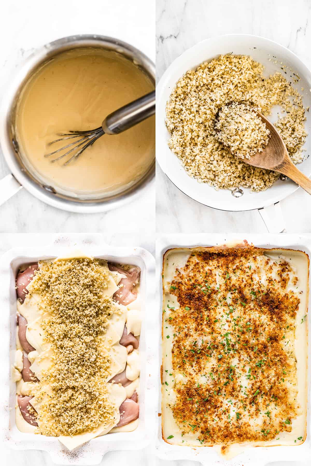 4 pictures showing how to make this swiss chicken bake recipe.