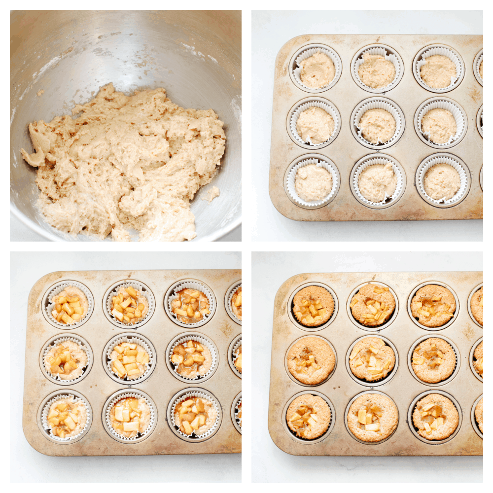 4 pictures showing how to make the cupcake batter and apple pie filling.