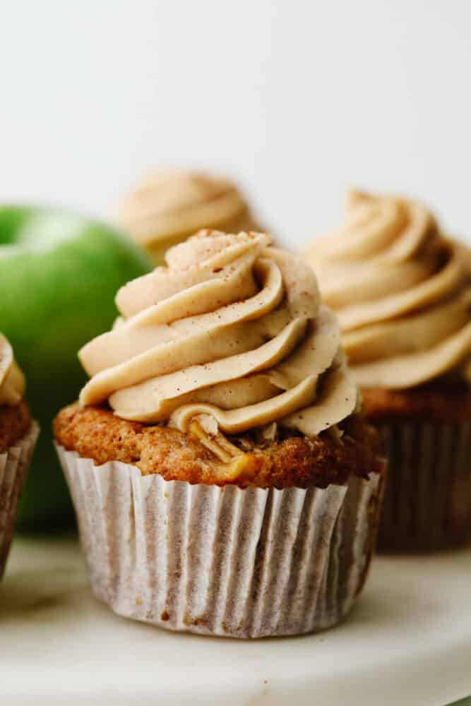Close up of an apple pie cupcake.