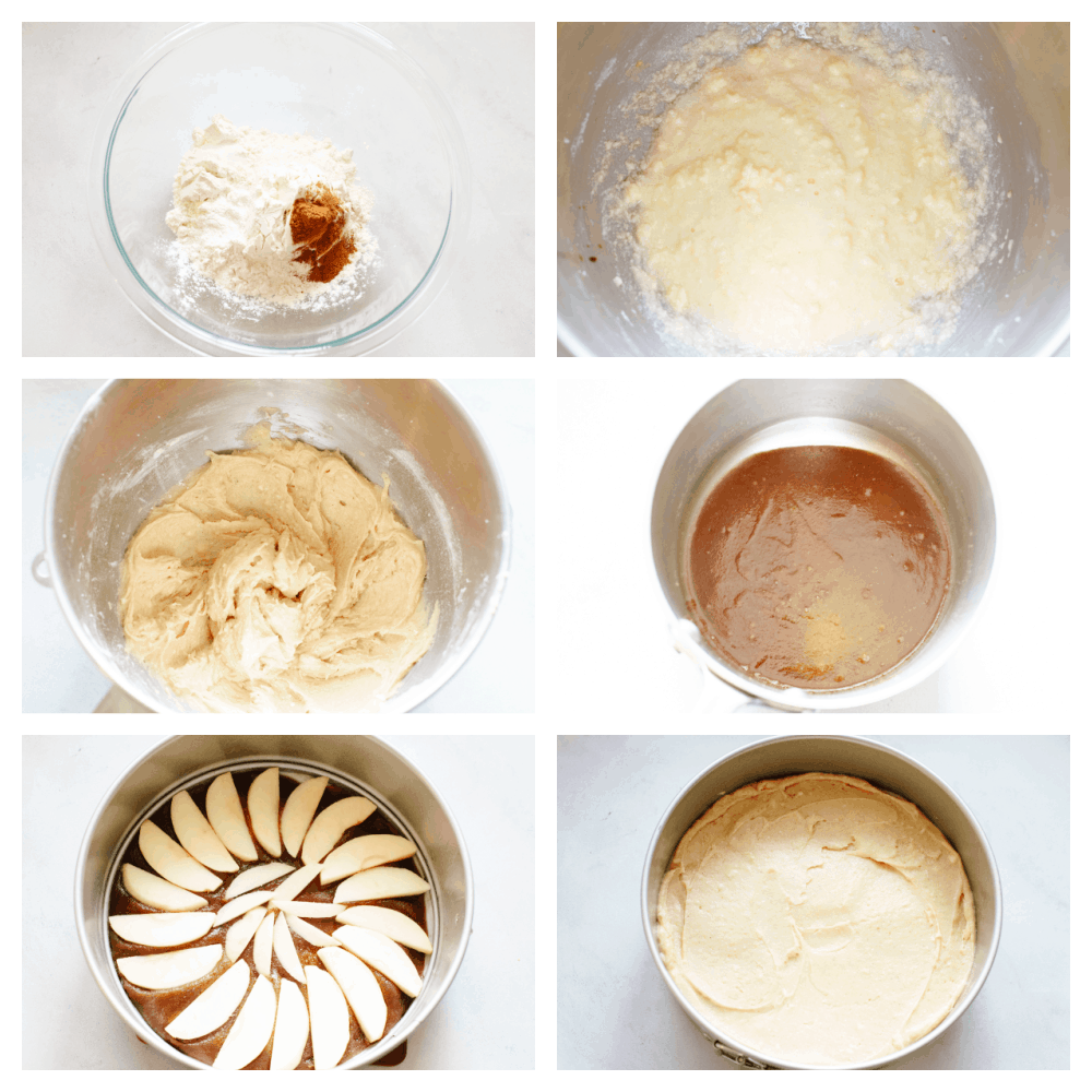 Process shots of preparing glaze and cake.