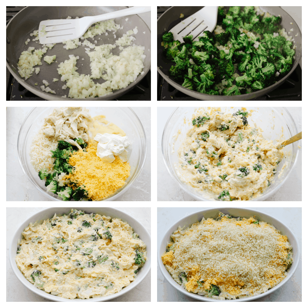 6 pictures showing how to mix ingredients to make a casserole.