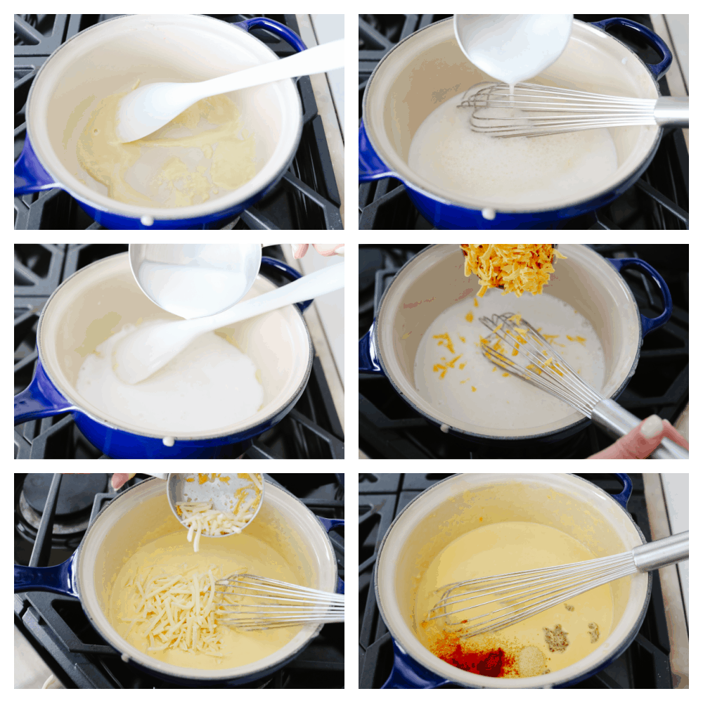 6 step by step pictures on how to mix ingredients for dip.
