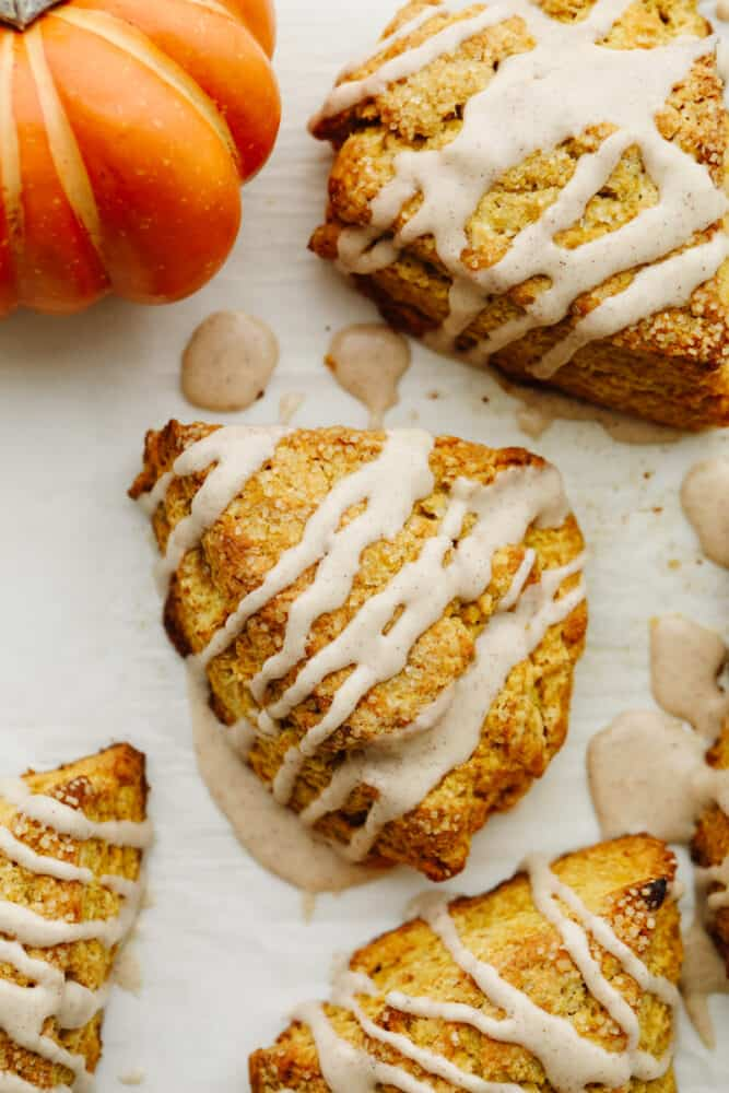 The top view of a pumpkin scone.